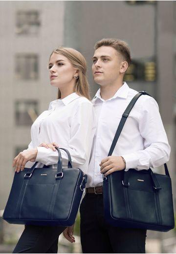 Кожаная сумка для ноутбука и документов темно-синяя