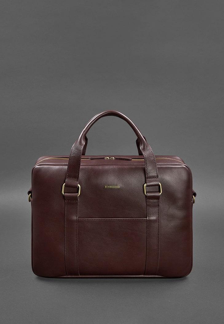 Фото Кожаная сумка для ноутбука и документов бордовая (BN-BAG-37-vin)