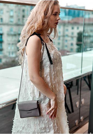 Женская кожаная сумка поясная/кроссбоди Mini темно-бежевая