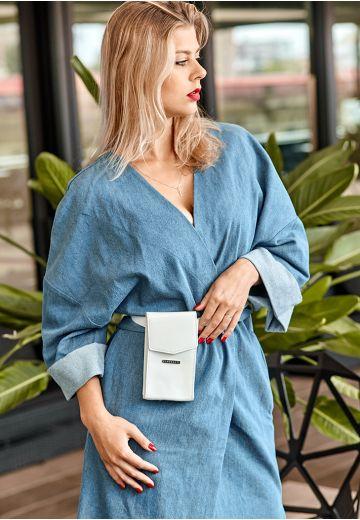 Женская кожаная сумка поясная/кроссбоди Mini белая