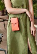 Набор женских коралловых кожаных сумок Mini поясная/кроссбоди - BN-BAG-38-living-coral