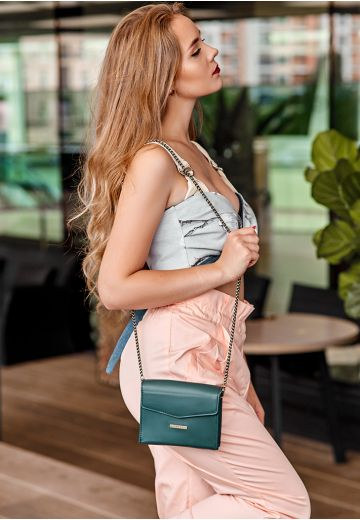 Женская кожаная сумка поясная/кроссбоди Mini зеленая