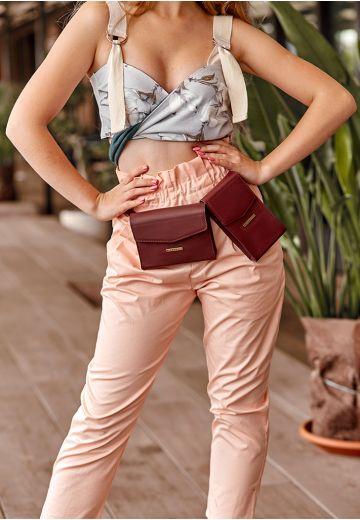 Набір сумок mini поясна / кроссбоді Виноград (марсала)