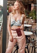 Фото Набор женских бордовых кожаных сумок Mini поясная/кроссбоди