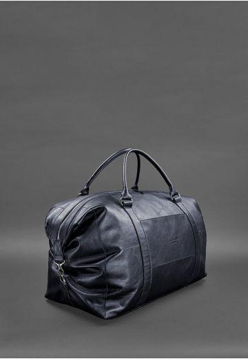 Кожаная дорожная сумка темно-синяя