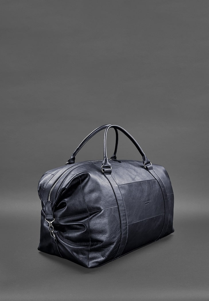 Фото Кожаная дорожная сумка темно-синяя BlankNote