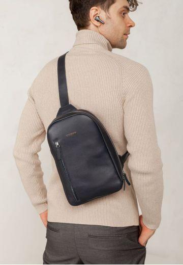 Кожаный мужской рюкзак (сумка-слинг) на одно плечо Chest Bag синий