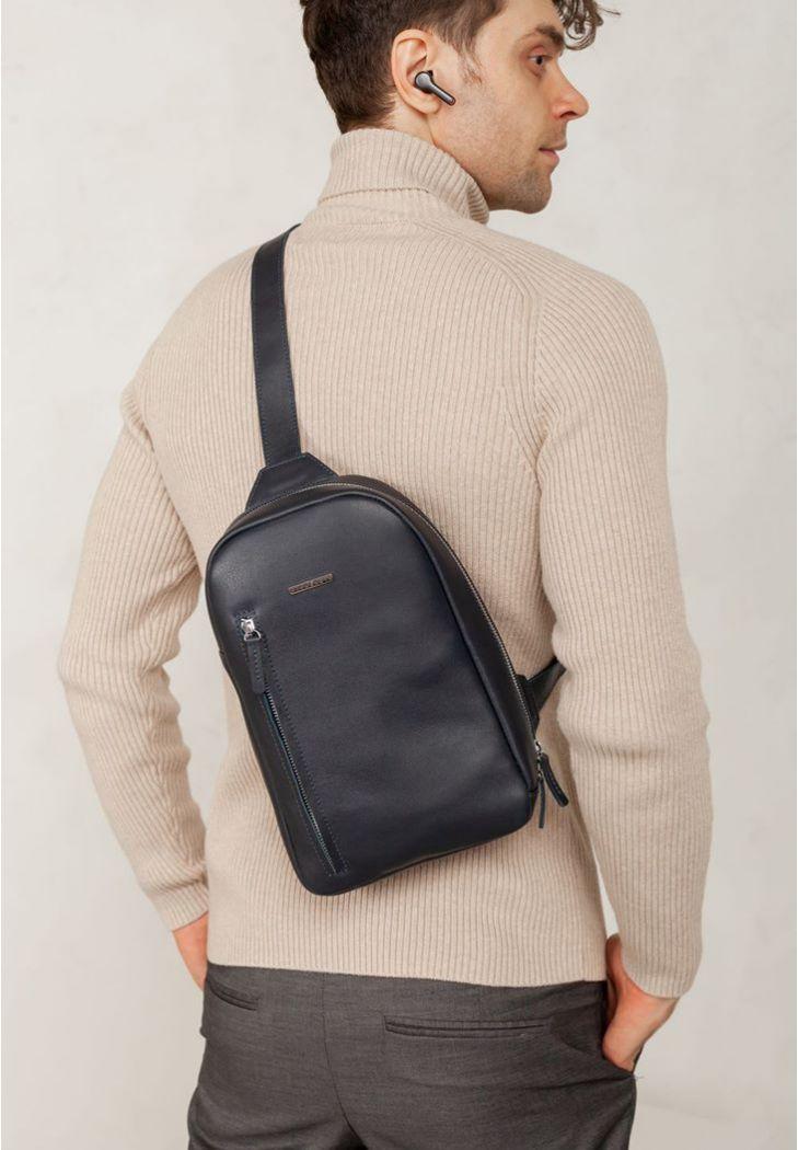 Фото Темно-синий кожаный мужской рюкзак на одно плечо Chest Bag (BN-BAG-42-navy-blue)