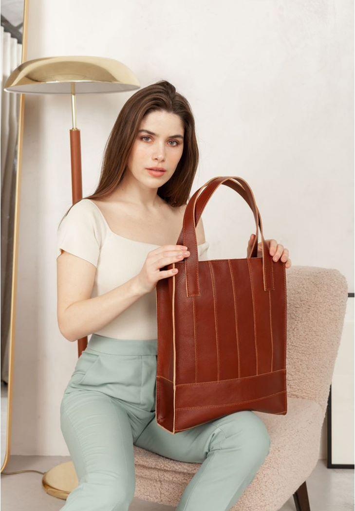 Фото Кожаная женская сумка шоппер Бэтси светло-коричневая краст