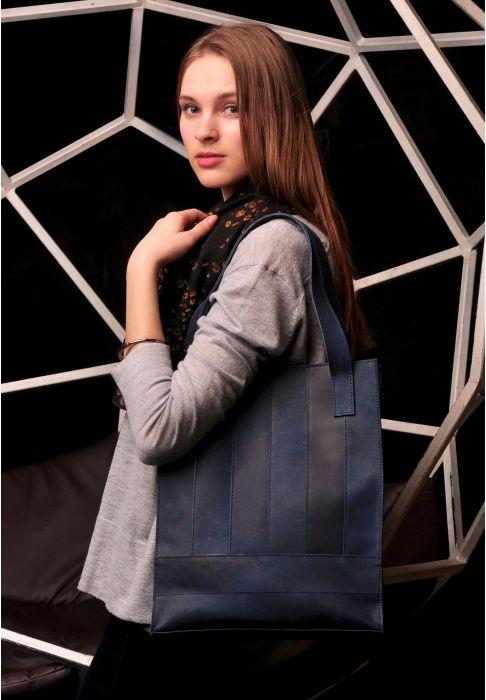 Фото кожаная сумка шоппер синяя BlankNote
