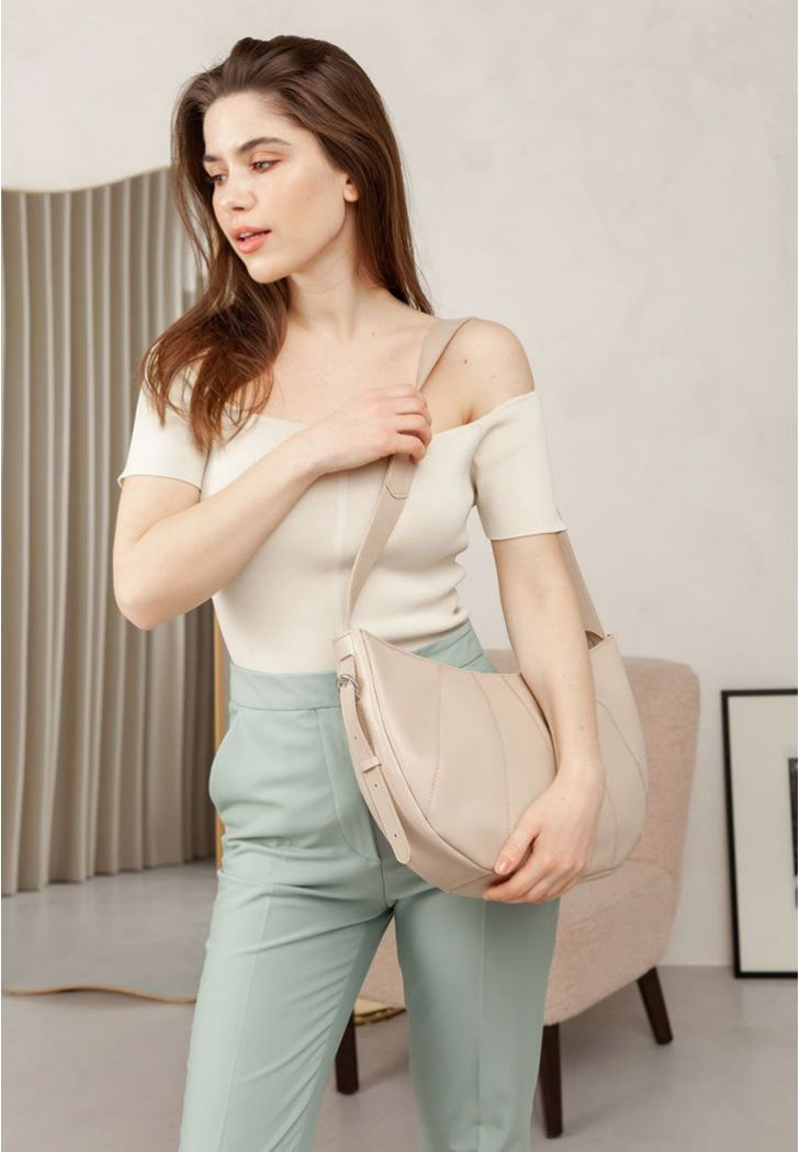 Фото Кожаная женская сумка Круассан светло-бежевая (BN-BAG-12-light-beige )