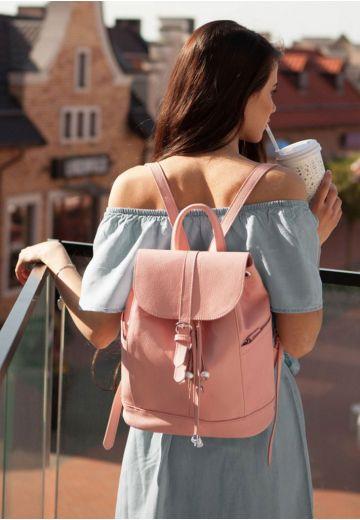 Шкіряний рюкзак Олсен барбі - рожевий