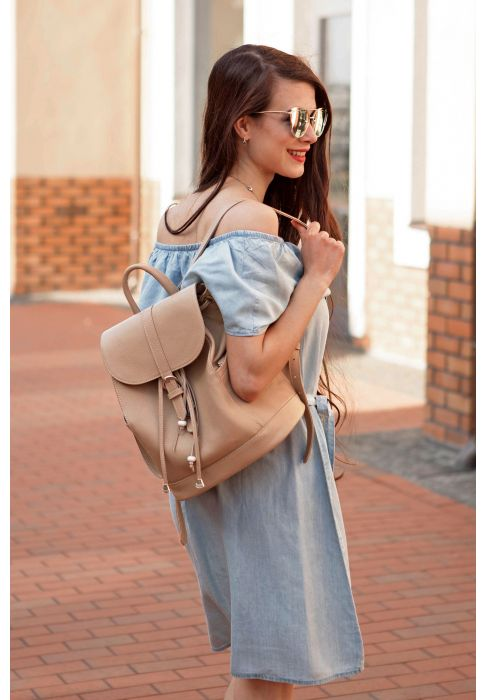 Фото Кожаный рюкзак Олсен крем-брюле BlankNote