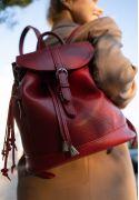 Фото Кожаный женский рюкзак Олсен красный