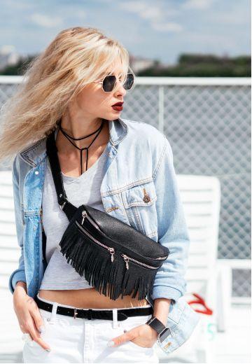 Кожаная женская сумка на пояс Spirit черная