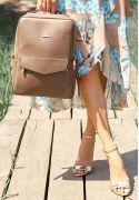 Фото Кожаный городской женский рюкзак на молнии Cooper темно-бежевый