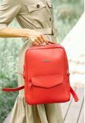 Фото Кожаный городской женский рюкзак на молнии Cooper красный