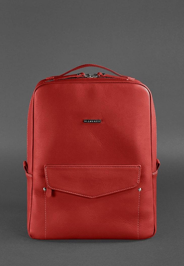 Фото Кожаный городской женский рюкзак на молнии Cooper красный BlankNote