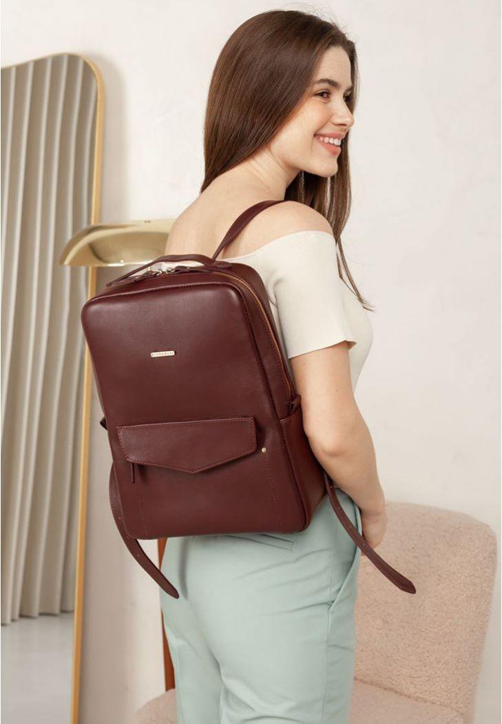 Фото Кожаный городской женский рюкзак на молнии Cooper бордовый (BN-BAG-19-vin)