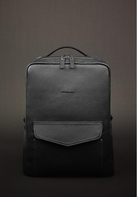 Фото Кожаный рюкзак на молнии нуар BlankNote
