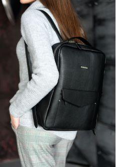 Кожаный городской рюкзак на молнии Cooper, нуар
