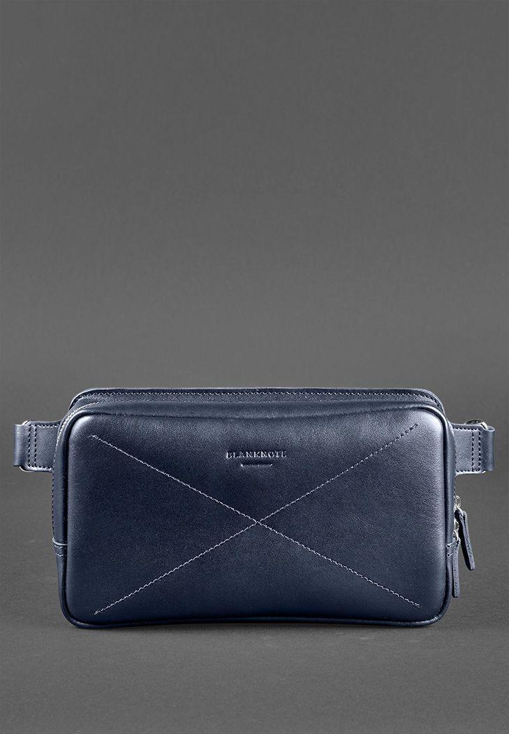Фото Кожаная поясная сумка Dropbag Maxi темно-синяя