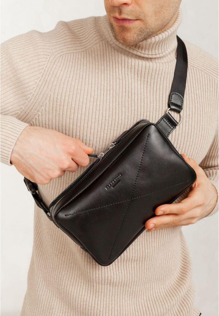 Фото Кожаная поясная сумка Dropbag Maxi черная Krast