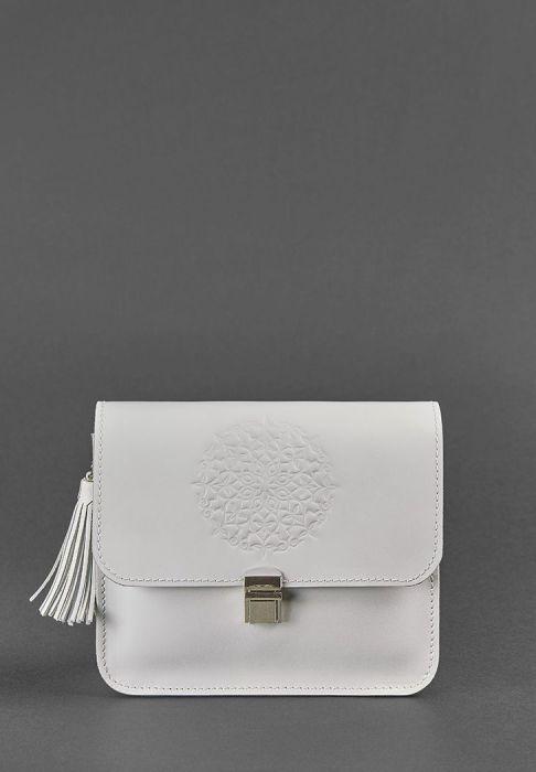белая кожаная сумка лилу ручной работы