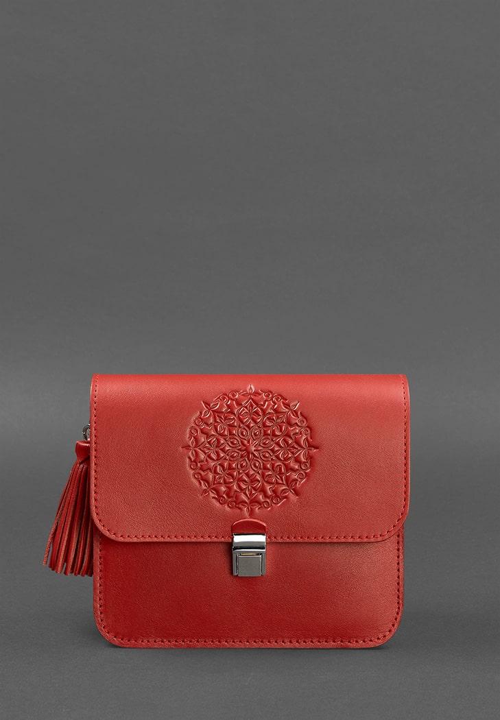 Кожаная женская бохо-сумка Лилу красная (BN-BAG-3-red) - купить по доступной цене в интернет-магазине Blanknote