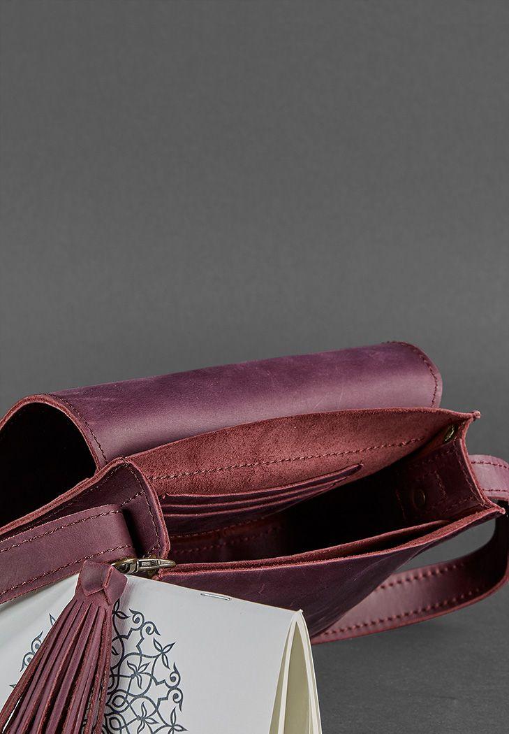 2b9e16587315 Кожаная сумка бохо Лилу (Кожа Crazy Horse) Бордовая - Виноград (BN ...