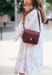 Кожаная сумка бохо Лилу (кожа krast) Виноград
