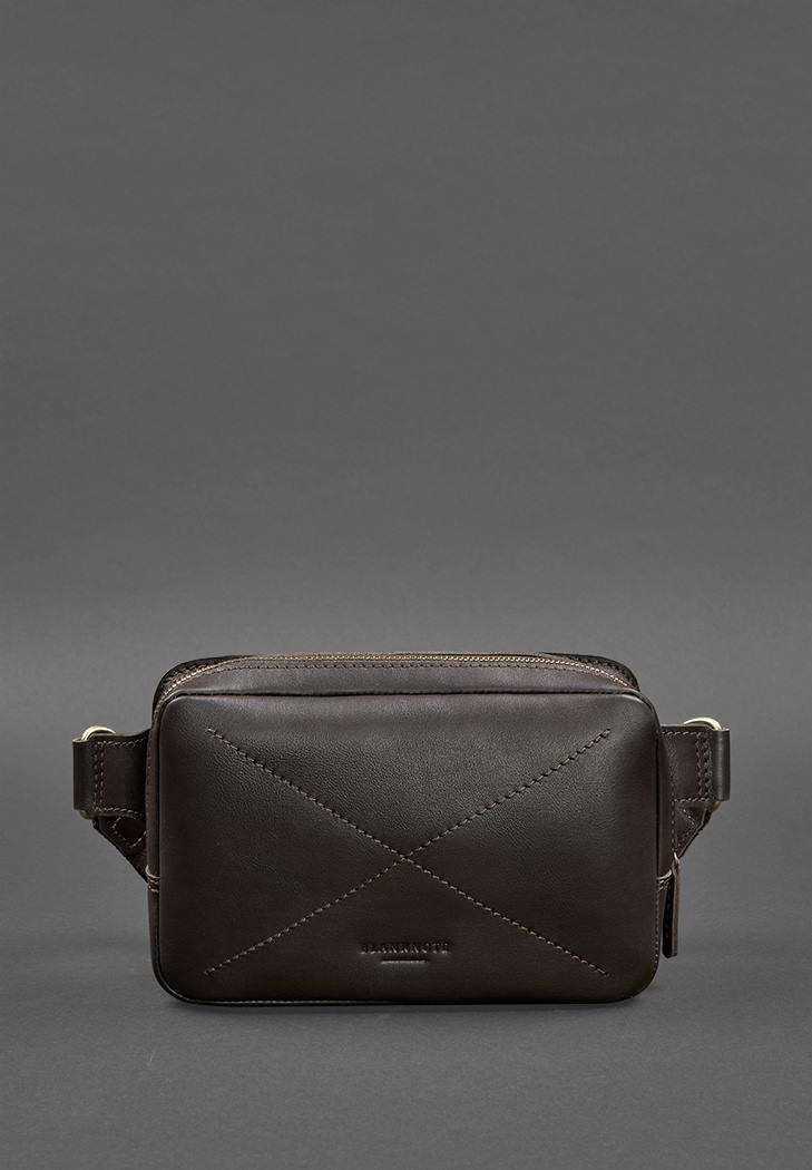 Фото Кожаная поясная сумка Dropbag Mini темно-коричневая (BN-BAG-6-choko)
