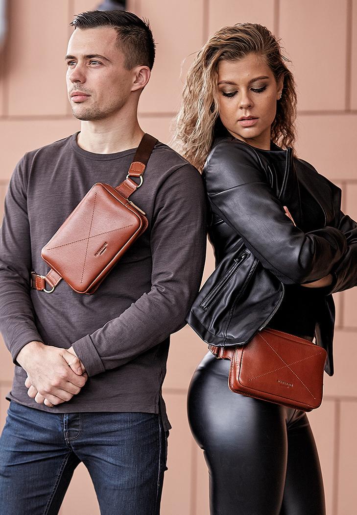 Кожаная поясная сумка Dropbag Mini светло-коричневая (BN-BAG-6-k) - купить по доступной цене в интернет-магазине Blanknote