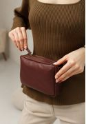 Фото Кожаная поясная сумка Dropbag Mini Krast бордовая