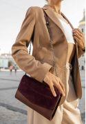 Фото Женская кожаная сумка Элис бордовая Велюр Krast