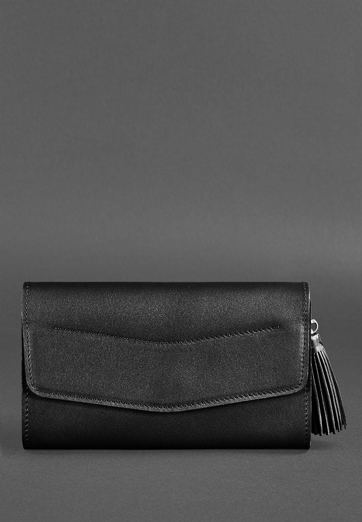 Фото Женская кожаная сумка Элис угольно-черная