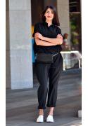 Фото Кожаная женская сумка Элис черная