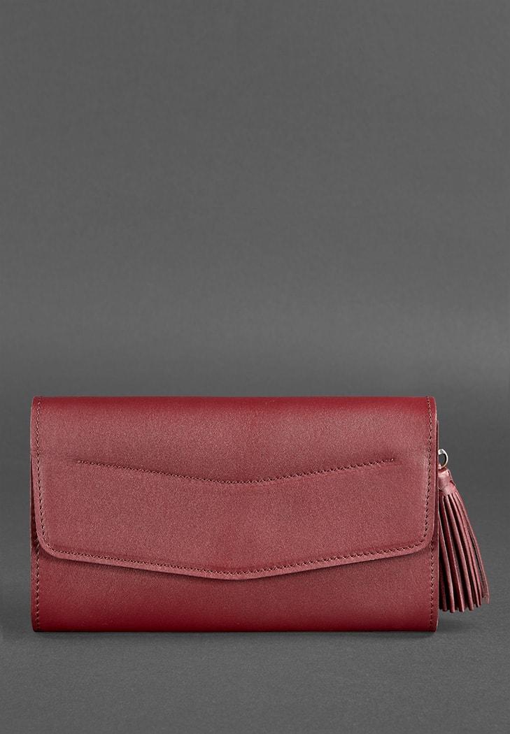 Фото Женская кожаная сумка Элис бордовая Краст