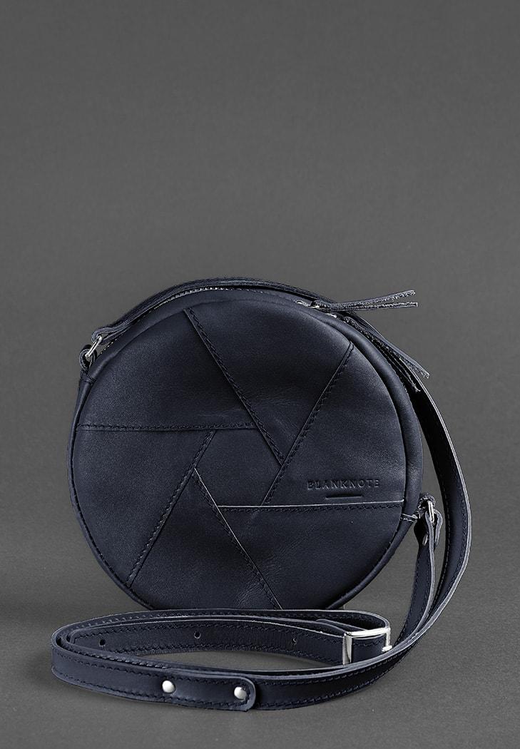 Фото Кожаная круглая женская сумка Бон-Бон темно-синяя