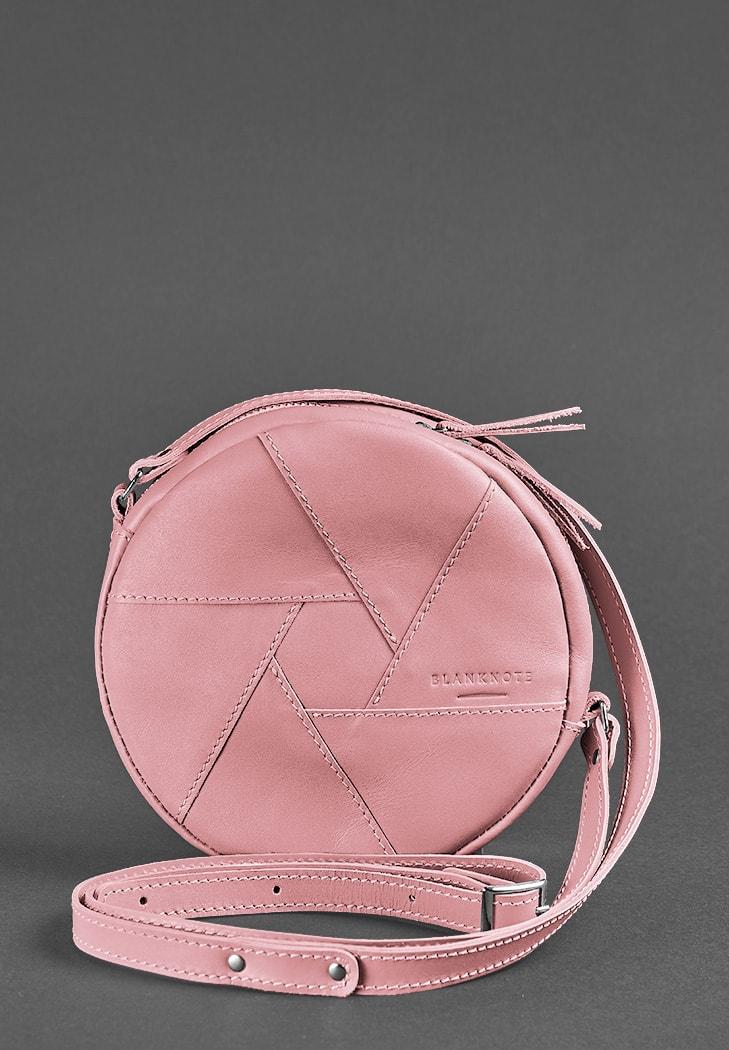 Фото Кожаная круглая женская сумка Бон-Бон розовая BlankNote