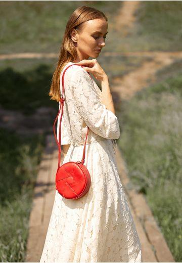 Кожаная круглая женская сумка Бон-Бон красная