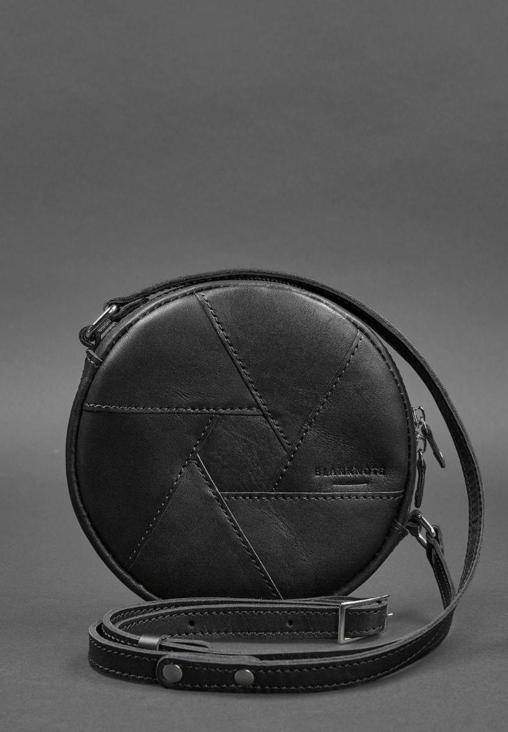 Фото Кожаная круглая женская сумка Бон-Бон Krast черная