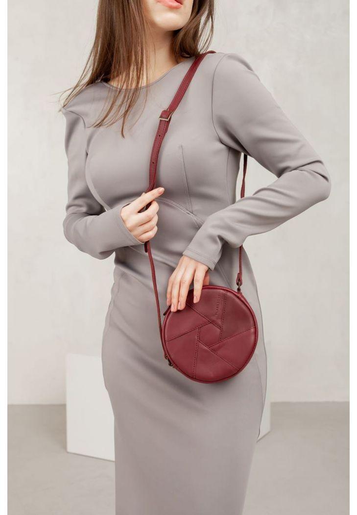 Фото Кожаная круглая женская сумка Бон-Бон бордовая