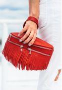 Кожаная женская сумка на пояс Spirit красная - BN-BAG-15-rubin