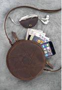 Фото Кожаная круглая женская сумка Бон-Бон темно-коричневая