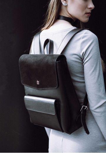 Женский кожаный городской рюкзак черный Blank - Black Point
