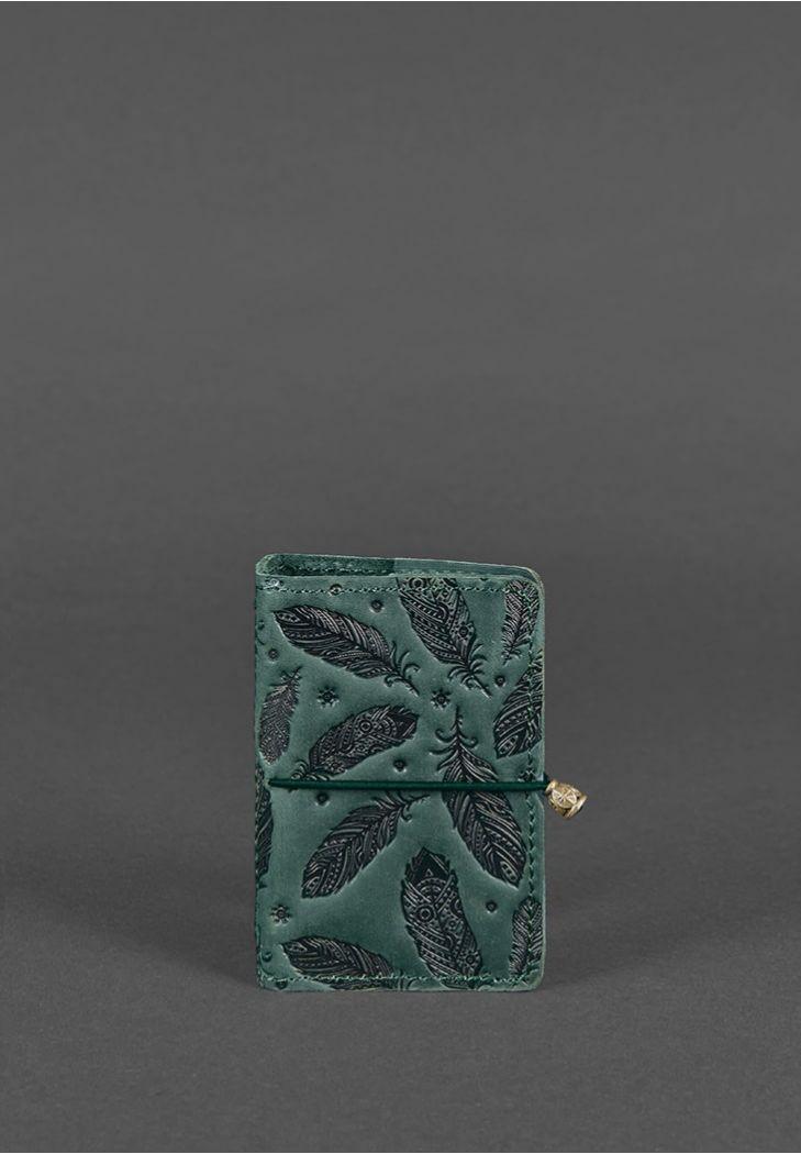 Фото Кожаный кард-кейс 7.0 зеленый с перьями