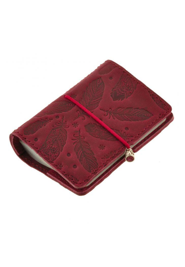 Фото Женский кожаный кард-кейс 7.0 бордовый с перьями