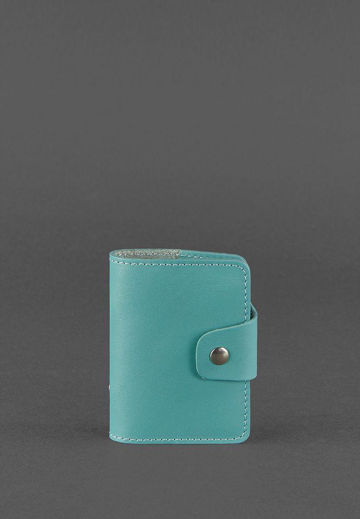 Фото Женский кожаный кард-кейс 7.1 (Книжечка) бирюзовый