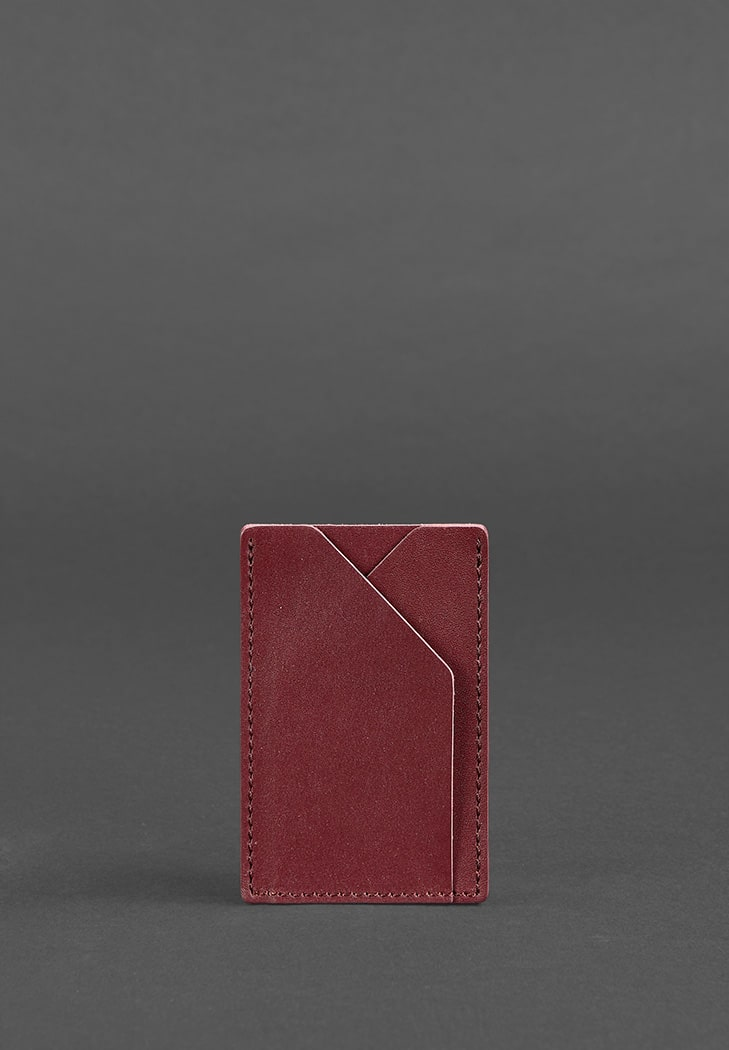 Фото Женский кожаный кард-кейс 8.0 бордовый